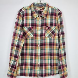 Natural Reflections flannel button down top sz: XL
